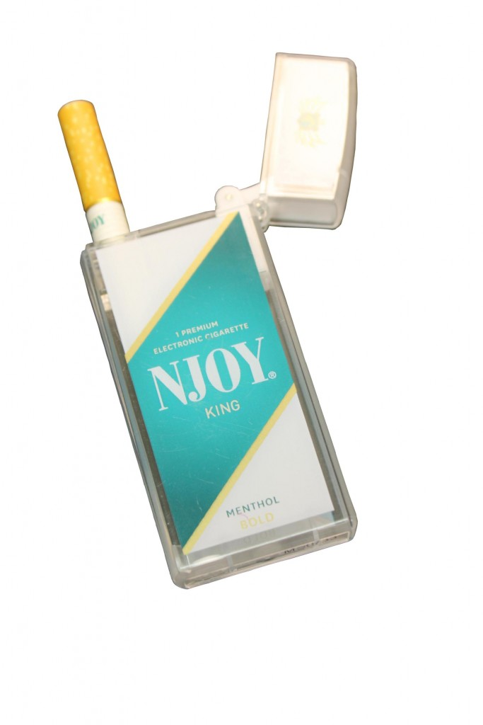 "Njoy, one of the top e-cigarette brands, touts its ""lookalike"" products desiged to closely resemble conventional cigarettes."