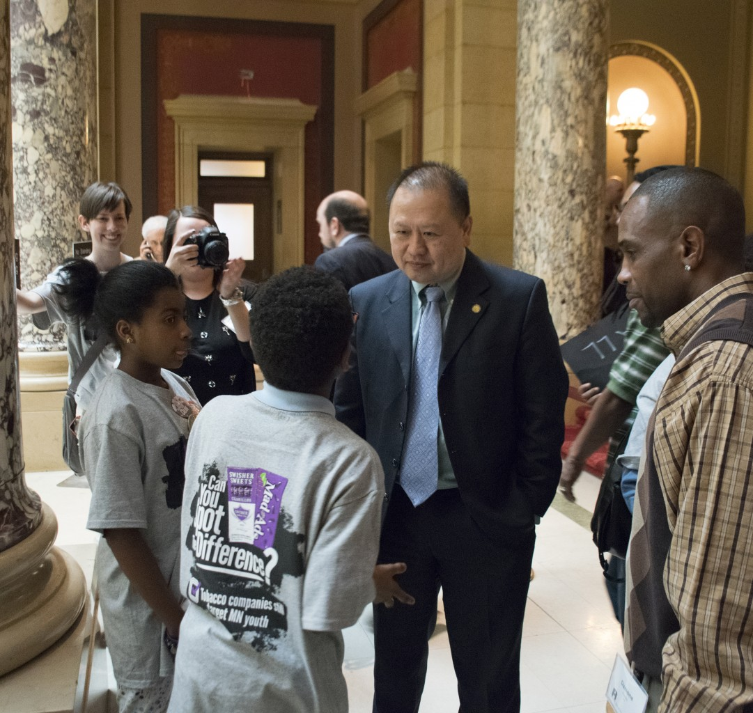 Aurora-St. Anthony students meet with Sen. Hawji.