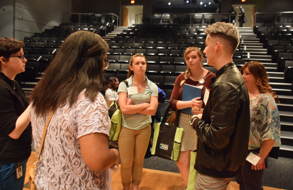 Youth from Tartan High practice their talking points.