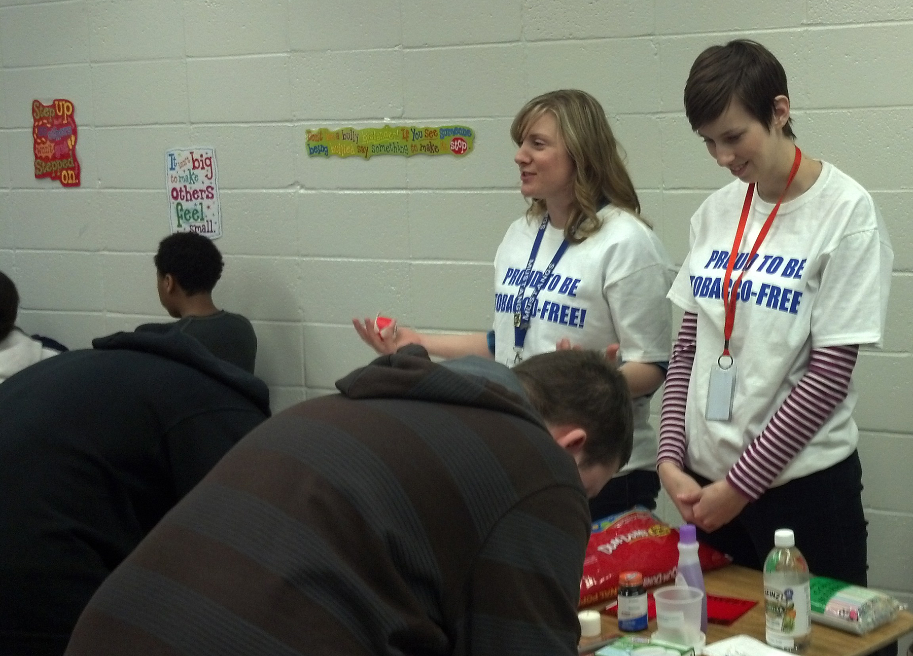 Students at Maplewood Middle School learn about the dangers of tobacco.