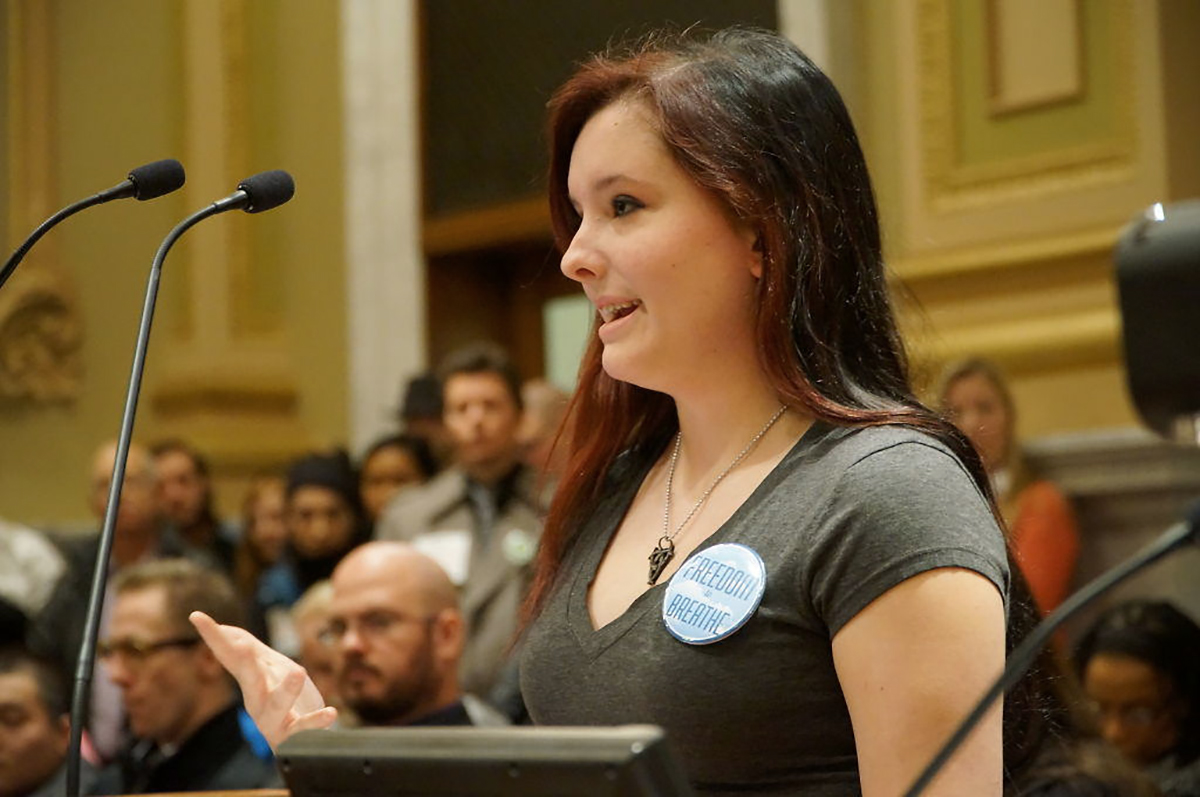 Jasmine Rodewald-Jones, a member of the Minneapolis Youth Congress, talks about the need for the ordinance.