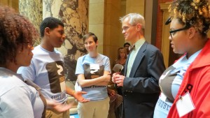 Youth from the program speak to their legislative representative during a Day at the Capitol, sponsored by ClearWay-Minnesota.